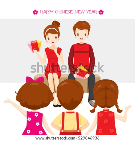 Parent Giving Red Envelopes To Children, Traditional Celebration, China, Happy Chinese New Year