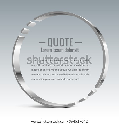 Parentheses sign. Quote, message Shiny metal vector banner - stock vector