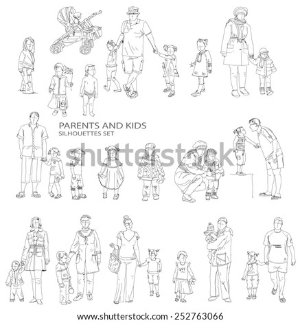 Parents and child silhouettes, sketch collection - stock vector
