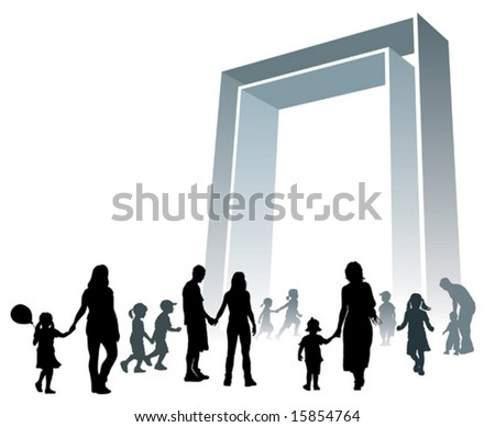 Parents and children are going to a large gate. - stock vector