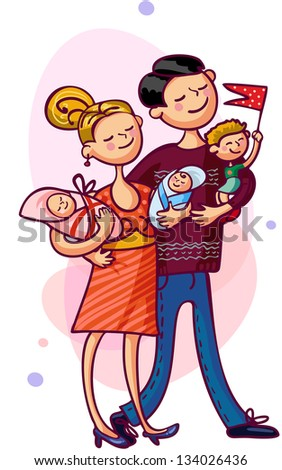 Parents and children. Happy young family - stock vector