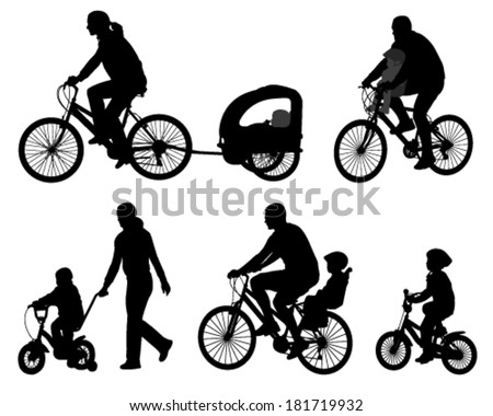 parents riding bicycles with their kids silhouettes - stock vector
