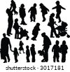 Parents with children vector silhouettes - stock vector