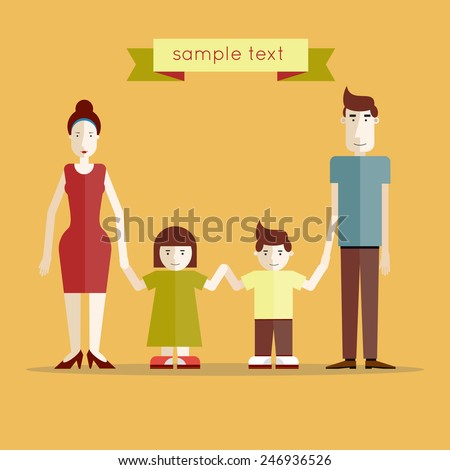 Parents with kids posing together. Portrait of four family members. Flat design vector illustration. - stock vector