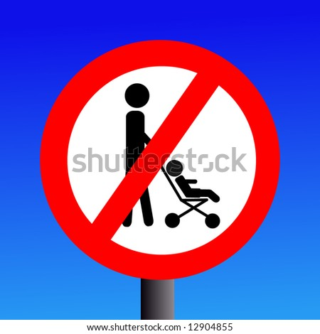 parents with strollers prohibited sign on blue illustration