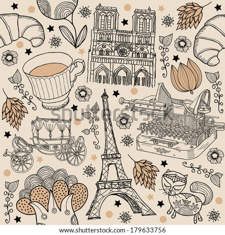 Paris, background with the Eiffel Tower and Notre Dame - stock vector