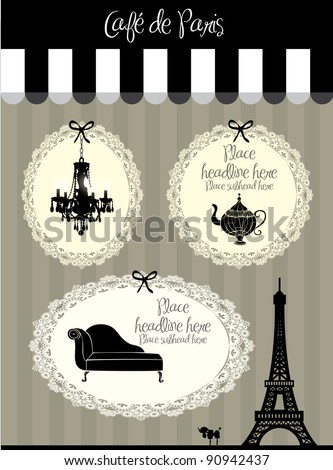 paris cafe borders vector/illustration - stock vector