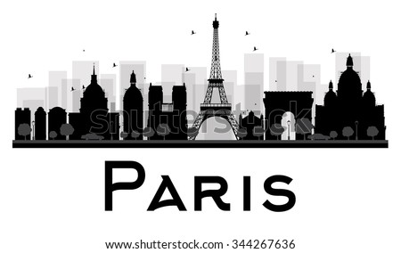 Paris City skyline black and white silhouette. Vector illustration. Simple flat concept for tourism presentation, banner, placard or web site. Business travel concept. Cityscape with famous landmarks - stock vector