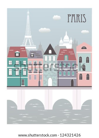 Paris city. Vector - stock vector