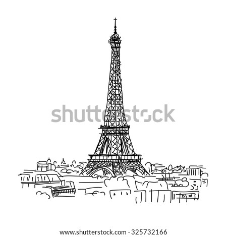 Paris,cityscape with Eifel Tower. Sketch for your design - stock vector