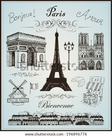 Paris collection elements vector hand drawn eps 10 - stock vector