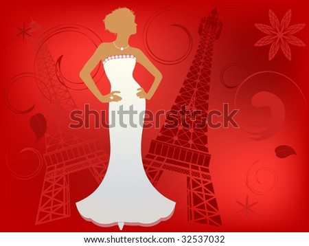 paris couture (bride) - stock vector