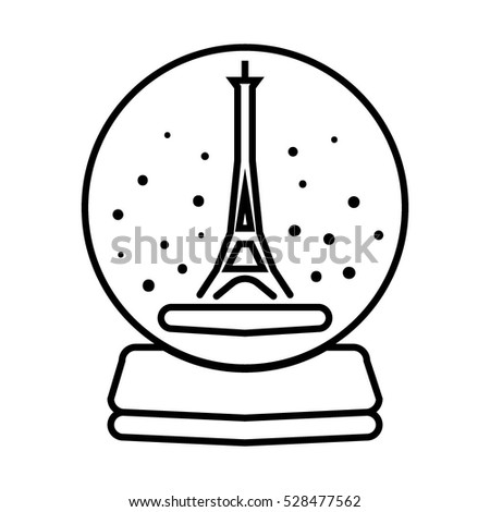 Paris Eiffel Tower Icon With Snowflakes On White Background Merry Christmas And Happy New Year