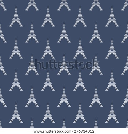 Paris Eiffel tower seamless pattern. Simple tourism vector backdrop. - stock vector