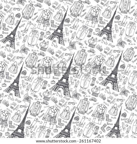 Paris Fashion.Clothing and accessories Hand drawing pattern,background,wallpaper.Fashion wear.Doodle Vector illustration in sketch style.French Inscriptions Hello,fashion,shop,Eiffel tower - stock vector