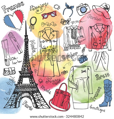 Paris Fashion.Clothing and accessories.Hand drawing set with Watercolor splashes.Autumn,winter,spring European fashion wear.Doodle Vector Illustration French Iandmark Eiffel tower. - stock vector