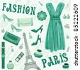 Paris fashion set. vector, color full, no gradient - stock vector