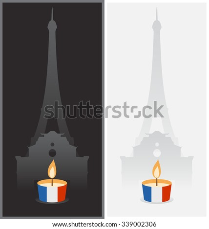 PARIS, FRANCE - NOV 13, 2015: Illustration with candle light for the victims of terrorist attacks - stock vector
