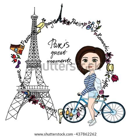 Paris Great moments card - stock vector