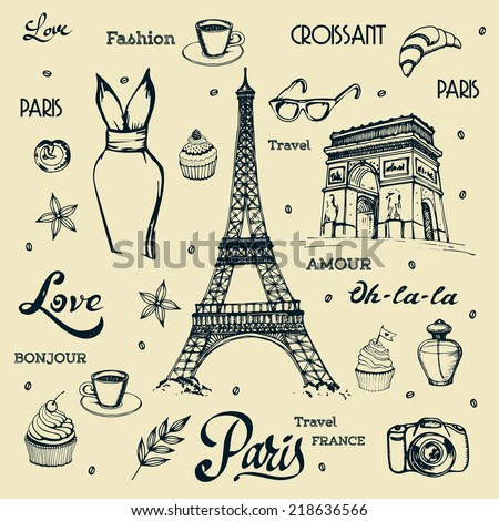 "Paris hand drawn illustration with Eiffel tower and other vector symbols. The french word ""bonjour"" means ""good morning"", the french word ""amour"" means ""love"".  - stock vector"
