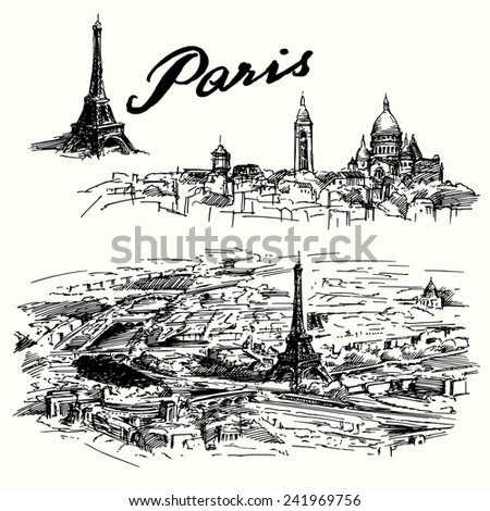 Paris - hand drawn set - stock vector