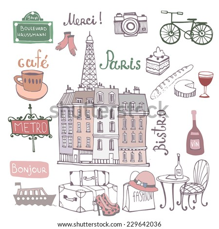 Paris illustration.Background with french symbols. - stock vector