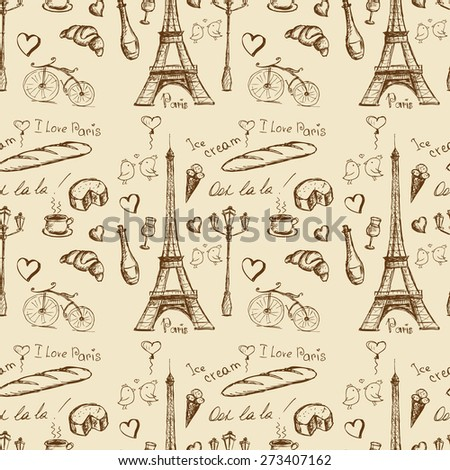 Paris landmarks and icons seamless pattern background, vector - stock vector