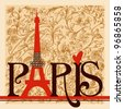 Paris lettering over vintage floral background vector - stock photo