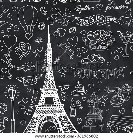 Paris LoveValentines Daywedding Seamles PatternHearts Vintage Elementsicons