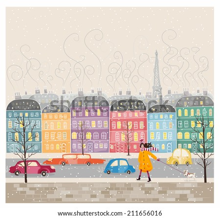 Paris, mon amour. Paris, my love. The colorful illustration of buildings in french style.