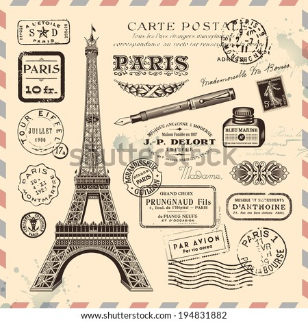 Paris postage design elements - stock vector