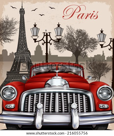 Paris retro poster. - stock vector