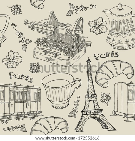 paris. seamless background - stock vector