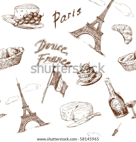 paris seamless pattern - stock vector