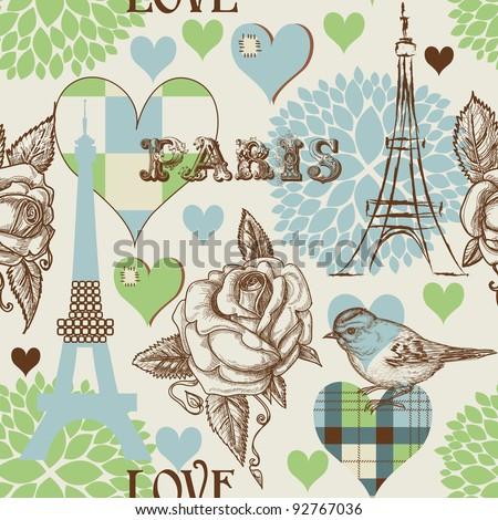 Paris seamless pattern - stock vector
