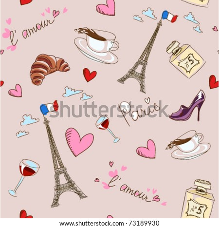 Paris seamless pattern. France. Vector background, easily editable. - stock vector