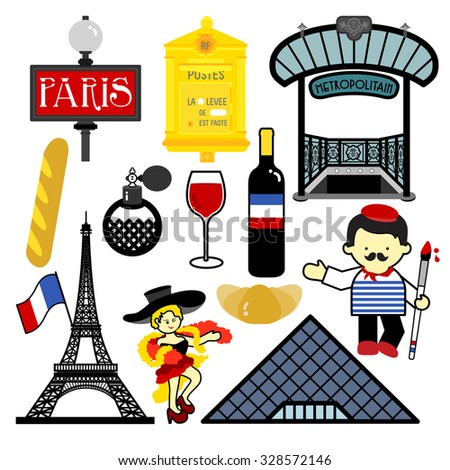 PARIS Signatures of Paris, one of the most attractive city in the world, are style which is in Paris icons. - stock vector