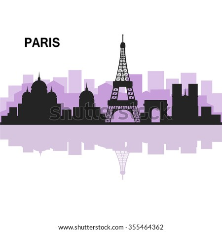 Paris silhouette, white background, detailed vector illustration. - stock vector
