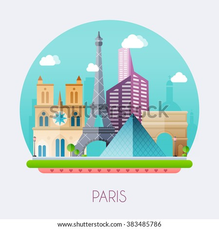 Paris. Skyline and vector landscape of buildings and famous landmarks. Vector illustration. - stock vector