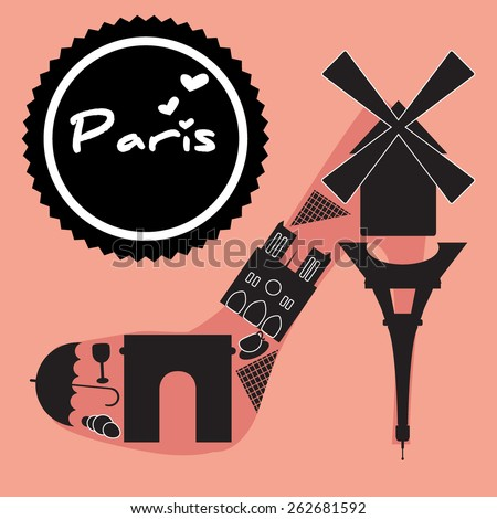 Paris symbol located in the shoes-shaped. Vector illustration.  - stock vector
