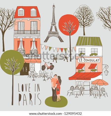 Paris symbols - stock vector