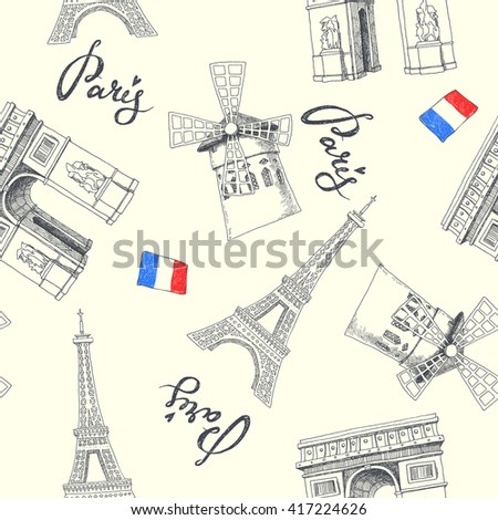 Paris symbols. seamless pattern with hand drawn objects. set of graphic illustrations - stock vector