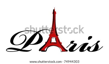 paris theme print - stock vector