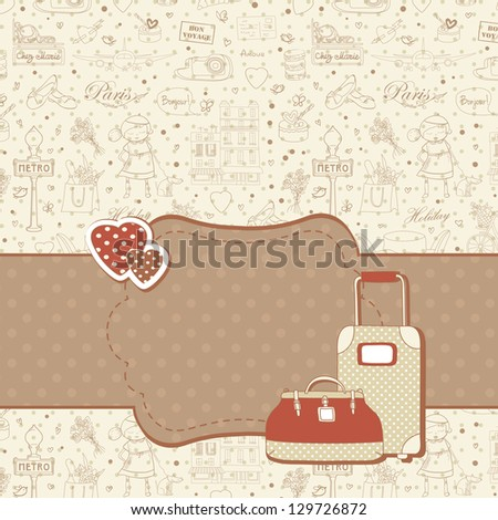 Paris travel background with hearts and luggage cases, copyspace for text. Retro vintage style. - stock vector