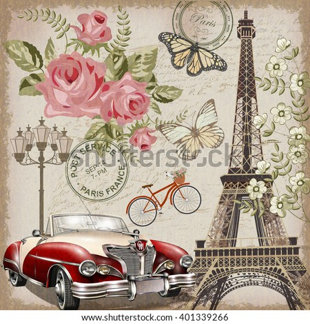 Paris vintage postcard. - stock vector