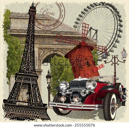 Paris vintage poster. - stock vector