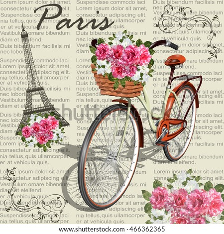 Paris Vintage Posternewspaper Background Stock Vector 466362365