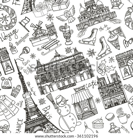 Paris winter seamless pattern.Landmark,lettering set,map.Vintage Hand drawn doodle sketchy,Eiffel tower,holiday season symbols.French good travel,hello,fashion.Eiffel tower.Vector background - stock vector
