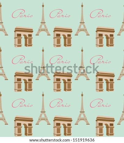 Paris with love pattern - stock vector