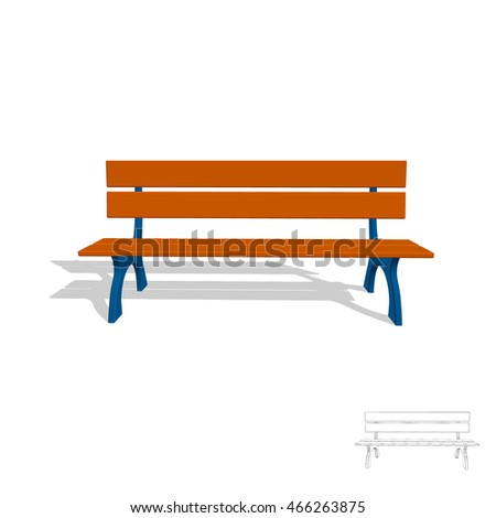 Park Bench Isolated On White Background 3d Vector IllustrationFront View